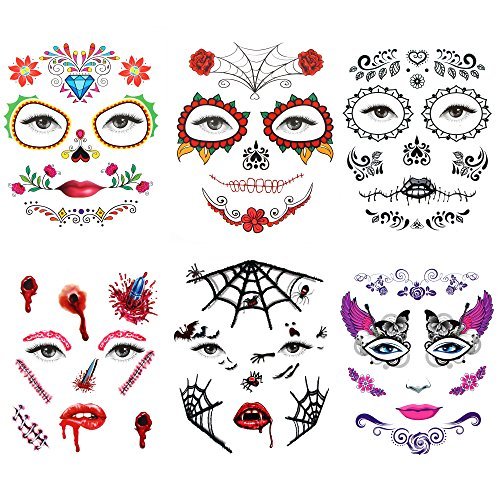 Witch Tattoos - 6 Sheet Hallowmas Temporary Face Tattoo Awesome Waterproof Body Skull Spider Costume Tattoos For Bachelorette Party Masquerade Halloween Prom
