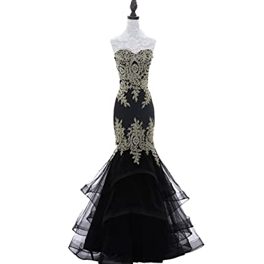 Yesdo Gold Lace Formal Evening Gown Mermaid Prom Dresses with Tiered Skirt Black US2