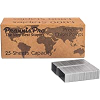PraxxisPro Premium 26/6 Chisel Point Standard Staples Refill for All Home, School and Office Staplers - Silver (1/4 Strip (5000 Count))
