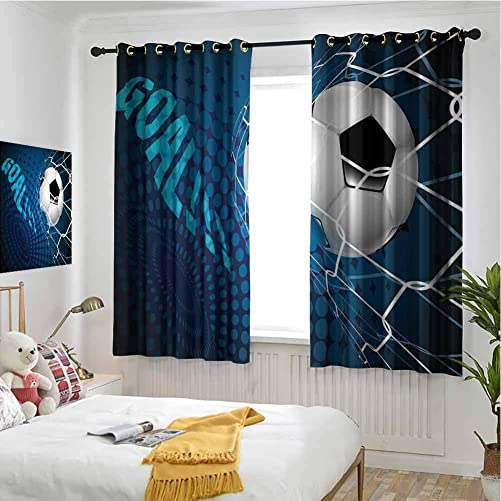Jinguizi Grommet Window Curtain Kids Curtain Soccer,Goal Football Flying into Net Abstract Dots Pattern Background European Sport,Blue Black White Window 72 x 63 inch