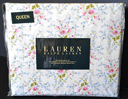 Ralph Lauren 4 Pc QUEEN Floral French Country Sheet Set Ivory Pink Blue Green