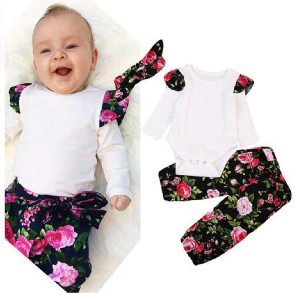 Lenfesh 3 Psc Baby Blumen Tops+ Floral Hosen + Stirnband Kleidung Set Outfits