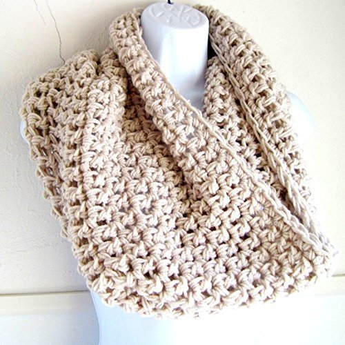Infinity Scarf, Crocheted Scarf, Beige Handmade Tan Infinity Scarf Circle Loop Knit Fall Winter