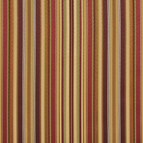 B0160C Burgundy Green And Gold Shiny Thin Striped Silk Satin Look Upholstery Fabric By The Yard ()