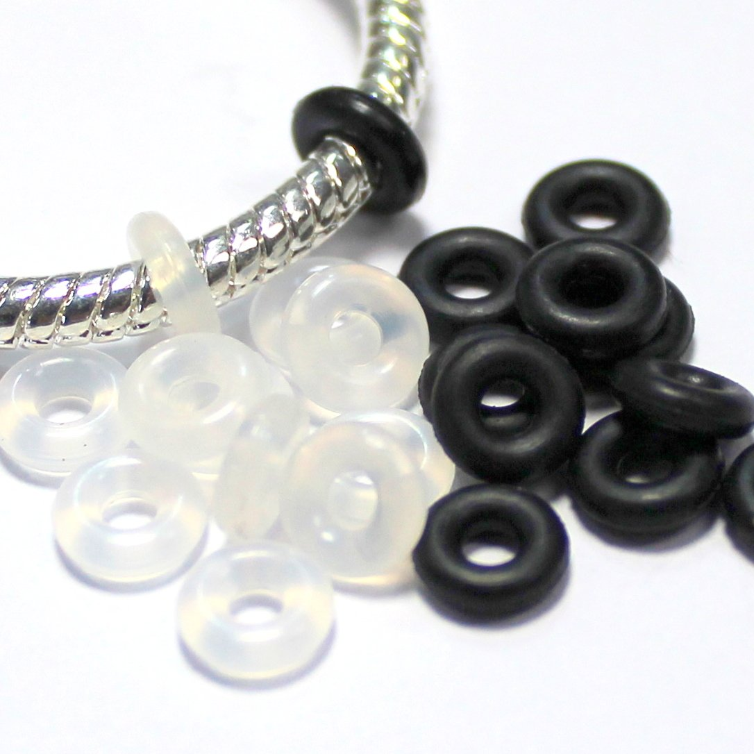 Clear TM LQZ 80Pcs Silicone Rubber Stoppers Ring Bead Charms Bracelets Compatible for Use Alone Or With Clip Lock Spacer Charm