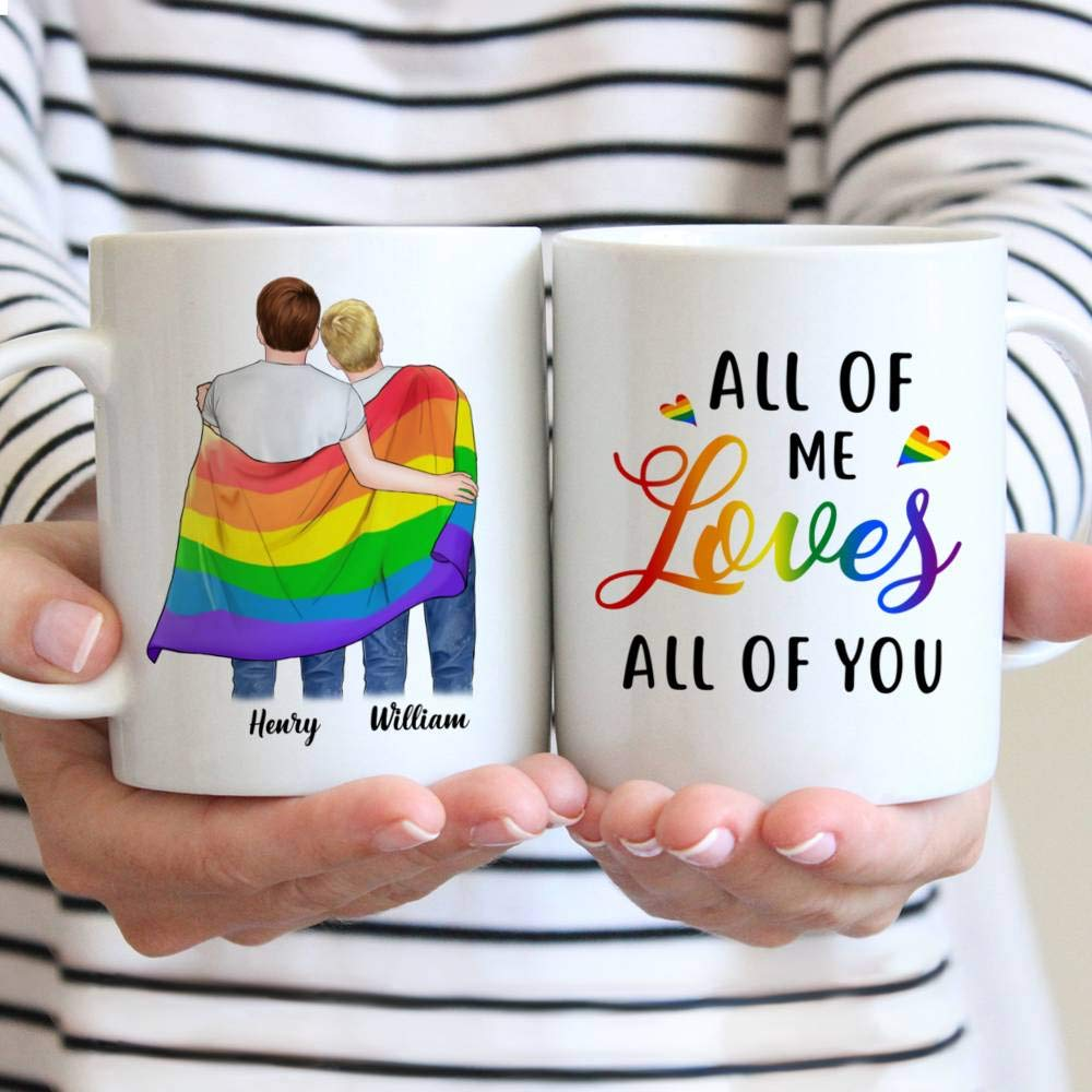Personalized Couple Mug LGBT Couple All Of Me Loves All Of You Gay Couple Rainbow Flag Heart Gift Christmas Mug Customize Name Ceramic Cup, Hot and Cold Drink Home