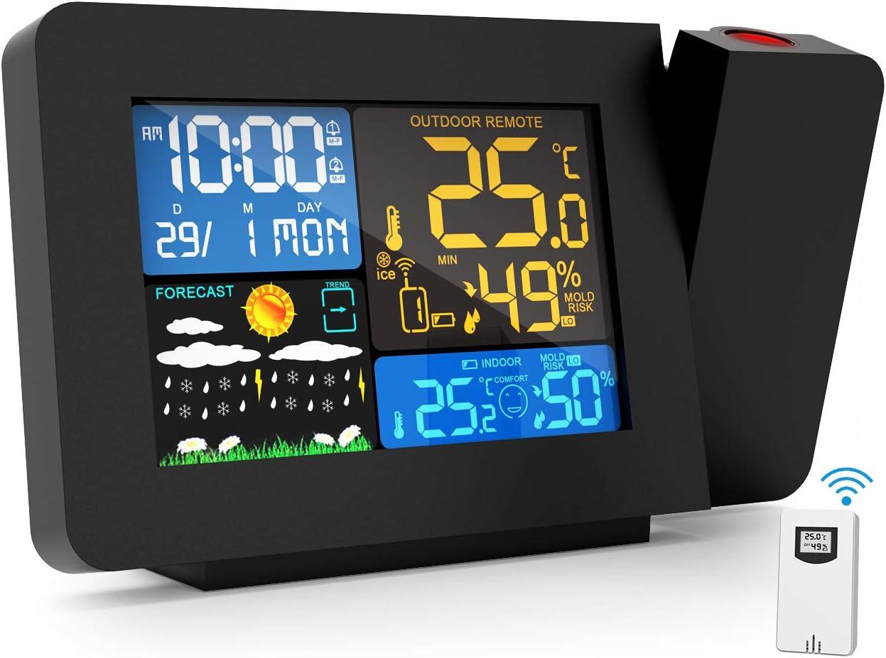 Gafild Estación Meteorológica, Termómetro Higrómetro con Pantalla a Color, Alarmas, Pronóstico del Tiempo, Alertas de Temperatura, Monitor de Humedad, ...