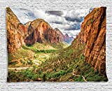 National Parks Home Decor Tapestry by Ambesonne, Utah Plateau Mojave Desert Southwest Erosion Native Aztec Artistic Print, Wall Hanging for Bedroom Living Room Dorm, 60WX40 Inches, Brown Green