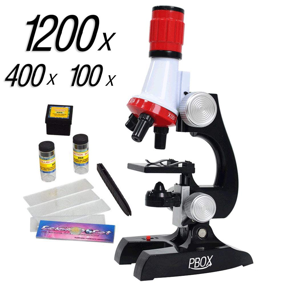 Science Kits for Kids Microscope Beginner Microscope Kit LED 100X, 400x, and 1200x Magnification Kids Science Toys,red by PBOX