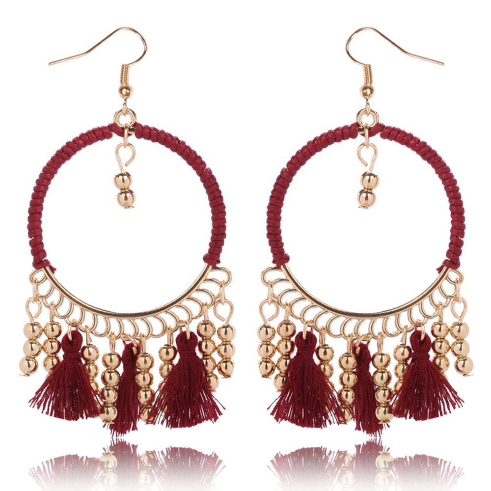 Women Girls Big Circle Bohemian Ethnic Style Round Shape Hollow Tassel Dangle Drop Earrings MINGHUA