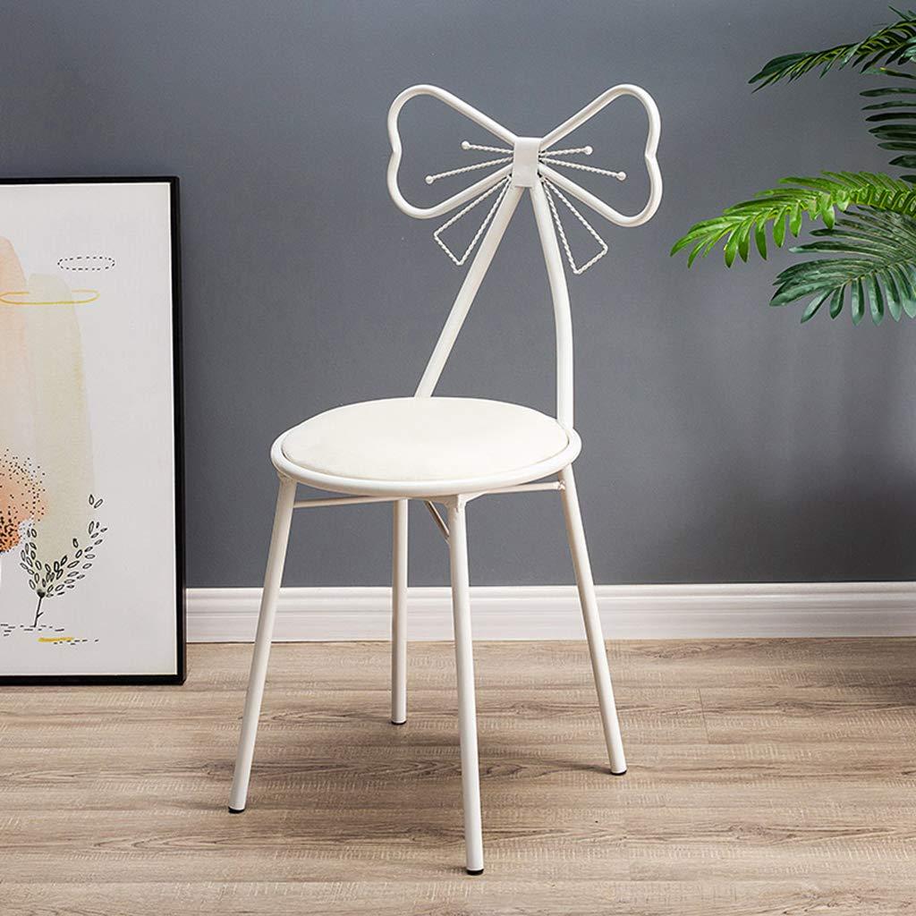 XIAOZHUZHU toalettbord pall kreativ fjäril slips nagelkonst makeupstol vit järnkonst fåtölj flanell matstol möbler 87 cm, lila flanell White Flannel