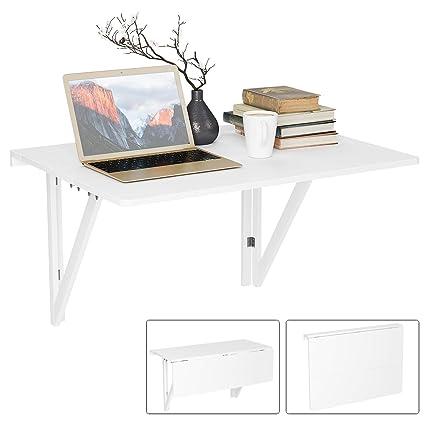 Homfa Tavolo da Muro Bianco, Tavolino Pieghevole Multifunzione ...