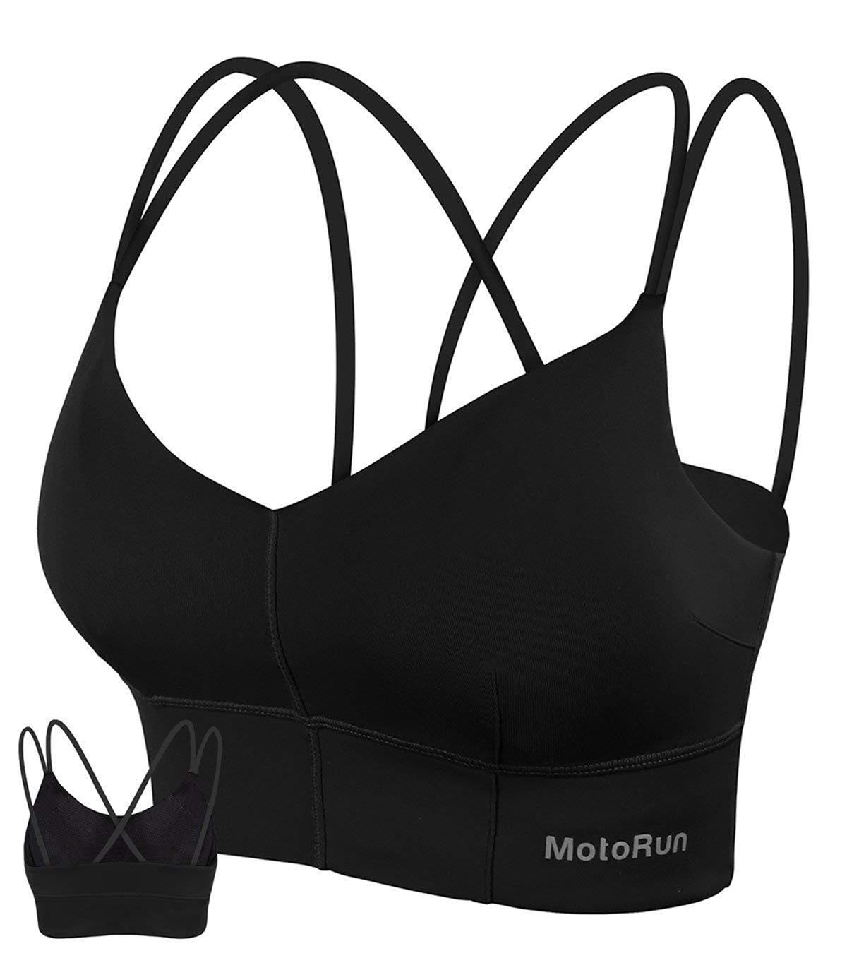 MotoRun Womens Push-up Padded Strappy Sports Bra Cross Back Wirefree Fitness Yoga Top Black S by MotoRun