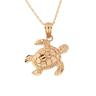Amazon Com Beauniq 14k Rose Gold Diamond Cut Turtle Pendant