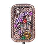 Ivenf Rose Golden Castle & Flower Square Vintage Compact Purse Mirror, Christmas Gift