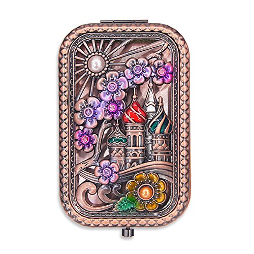 Ivenf Rose Golden Castle & Flower Square Vintage Compact Purse Mirror, Christmas Gift by Ivenf (Image #6)