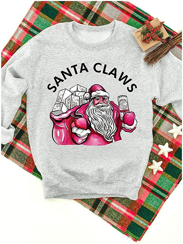 Women Santa Claws Sweatshirt White Claw Christmas Drinking Party Long Sleeve Pullover Tops T-Shirt
