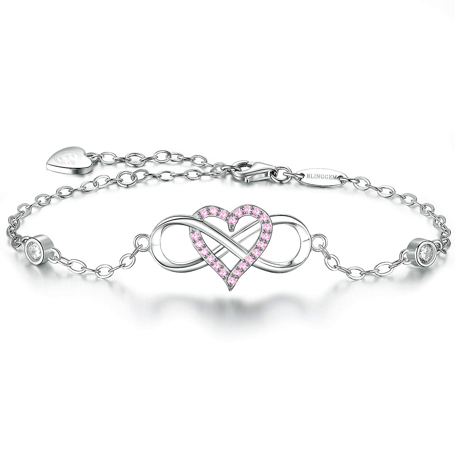 BlingGem Womens Silver Bracelet in 925 Sterling Silver Infinity Heart Charm for Girls with Pink Cubic Zirconia Love Bracelet Fine Jewelry Mothers Day Presents for Mom