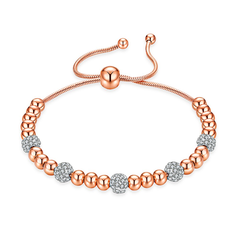 ROBERT MATTHEW Prime Amazon Day Olivia 18k Rose Gold Charm Bracelet, Rose Gold Charm Bracelet for Women, Beaded Bracelet w/Cubic Zirconia, Bead Bracelet for Girls, Womens Rose Gold Bracelet, MSRP 98