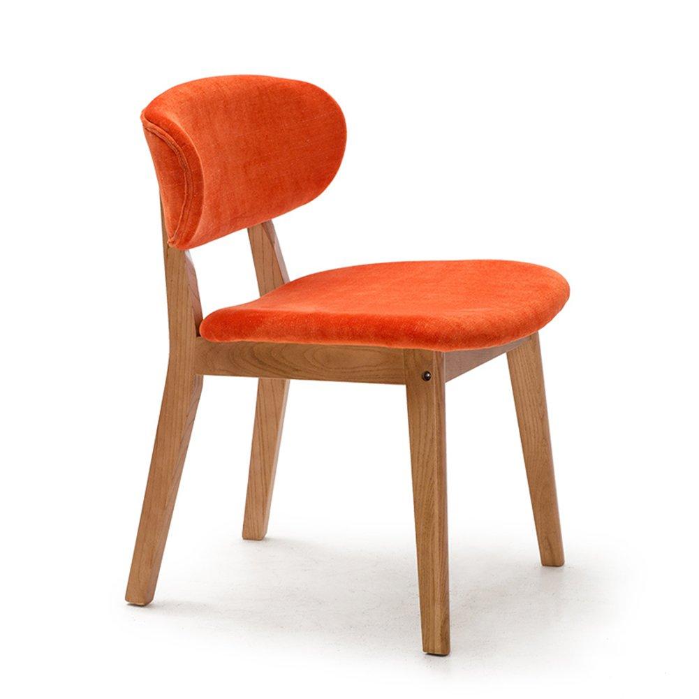 現代ダイニングチェア家庭用オフィス机カフェ居間商業レストランソリッドウッドスポンジクッションシンプルなラウンジチェア (色 : オレンジ, サイズ さいず : Set of 1) B07F1128NJ Set of 1|オレンジ オレンジ Set of 1