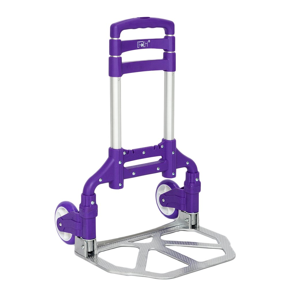 Office,Travel Use,Purple FCH Folding Hand Truck Aluminum Portable Folding Hand Cart 165lbs Capacity Handy Dolly Cart Ideal for Home Auto