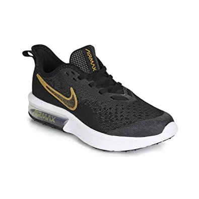 uk availability b45cf 033e1 Nike Air Max Sequent 4 Shield Running Shoe Black Metallic Gold White Size  3.5