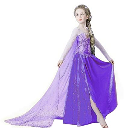 Moin Vestido violeta para Niñas para Fiesta para Elsa Princesa Carnaval Cosplay de Encaje Gasa Violeta