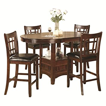 Home Source Industries Jacksonville 5 Piece Pub Dinette Set With Round Table,  Espresso