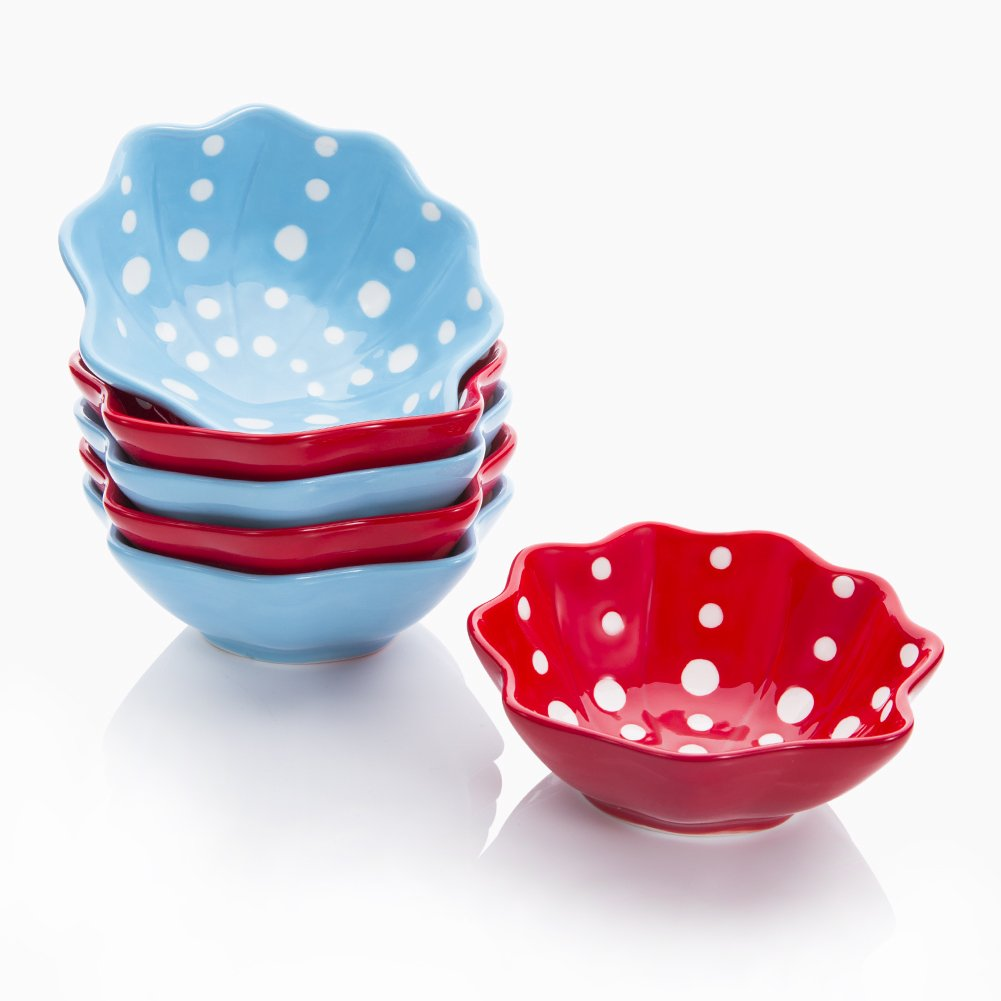 Hoomeet 4 oz Porcelain Ramekins, Dessert Bowls, Ice Cream Bowls, Snack Bowls, Dipping Bowls, Set of 6, Shell Shaped, Hand Painted Dots. (Red+Blue)