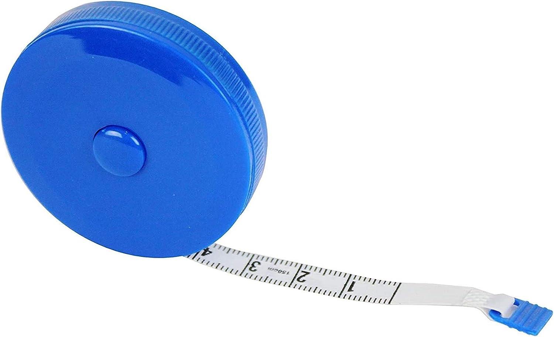 Sitrda Cinta m/étrica de tela suave redonda retr/áctil 150 cm para fabricantes de vestidos y hogar. azul