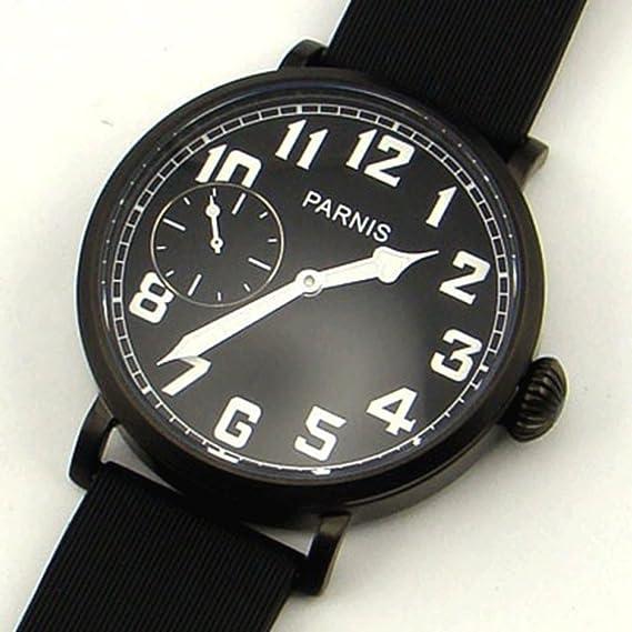 PARNIS 46 mm PVD Caso Negro Dial 6497 mecánico mano Winding reloj para hombre: Amazon.es: Relojes
