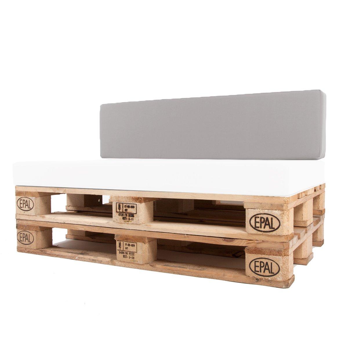 Arketicom Pallet One CHEOPE - Respaldo Cojin Sofa en Palet tejido OUTDOOR Impermeable y Desenfundable - interior Espuma de Poliuretano Alta Densidad Alta ...