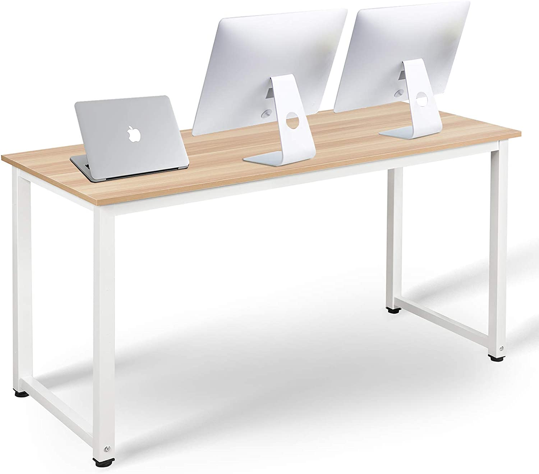 TIRI SMART Computer Desk for Home Office Modern Simple Style Computer Desk Laptop Study Table Office Desk Workstation,63 Inch,Walnut+ White Leg