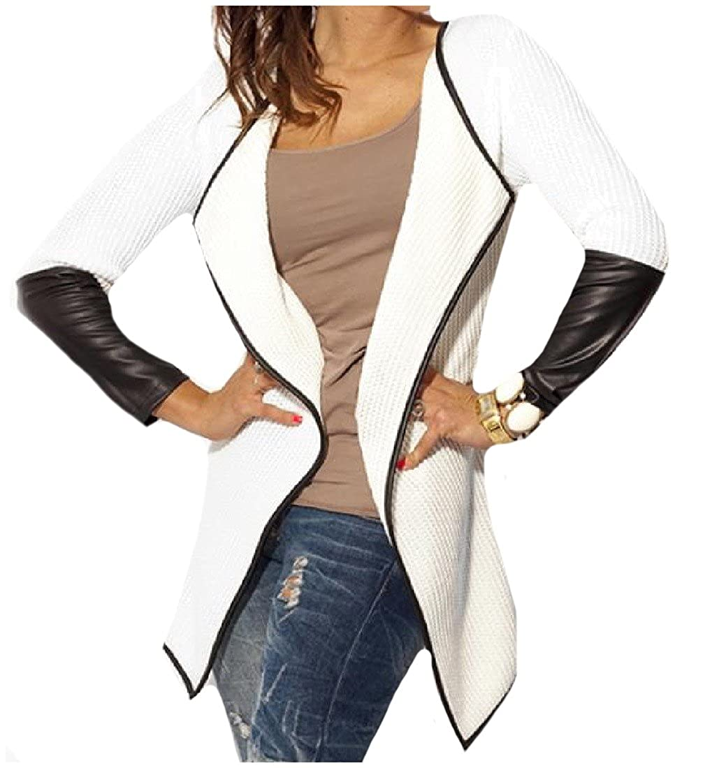 Comfy Women Long Sleeve Leather Stitch Jackets Blazer Cardigan Coat