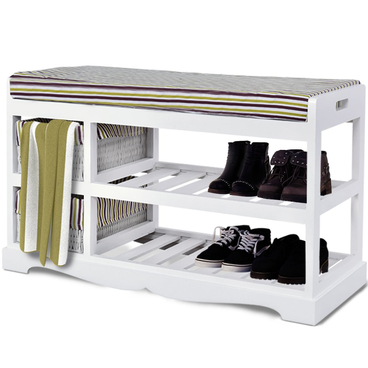 Giantex Shoe Bench Rack with Upholstered Padded Seat Storage Shelf Origanizer Bench with 2 Baskets for Bedroom Entryway Living Room (White)
