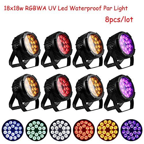 Shipping from US 8pcs/lot waterproof 18X18W 6IN1 RGBWA UV LED par light IP65 par can light