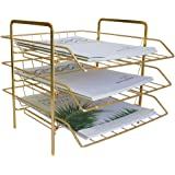 LUCYCAZ 3 Tiers Stackable Document Letter Organizer Desktop Paper File Holder for Home Kitchen Office Supplies, Gold…