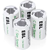 EBL 4Pcs C Size Battery Spacers for Rechargeable AA Ni-MH/NI-CD Battery Cells and Alkaline Batteries