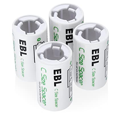 EBL AA To C Size Battery Adapter Case Szie Spacers