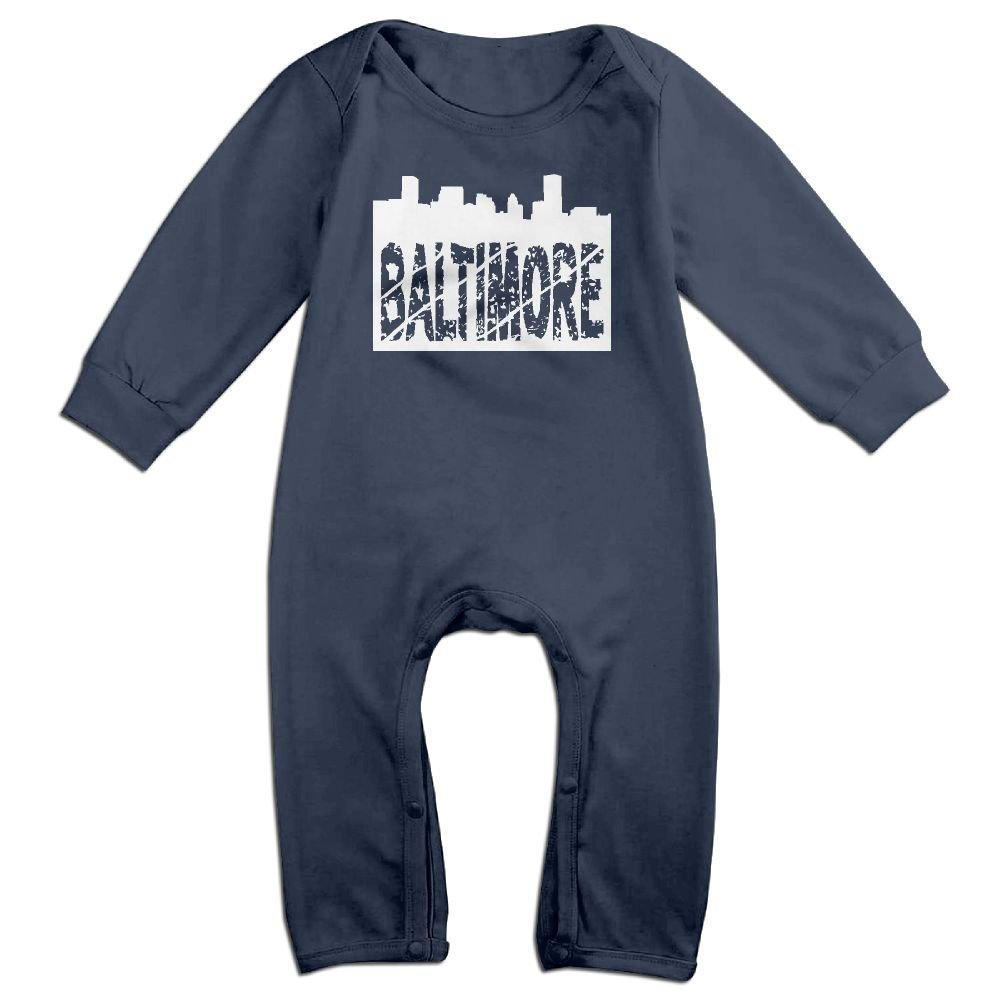 Mri-le1 Baby Girls Organic Coverall Baltimore Skyline with Grunge Text-1 Toddler Jumpsuit