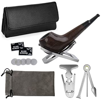 Joyoldelf Small Smoking Pipe Set, Wooden Pipe with Leather Pipe Pouch,  Stainless Steel Stand Holder,