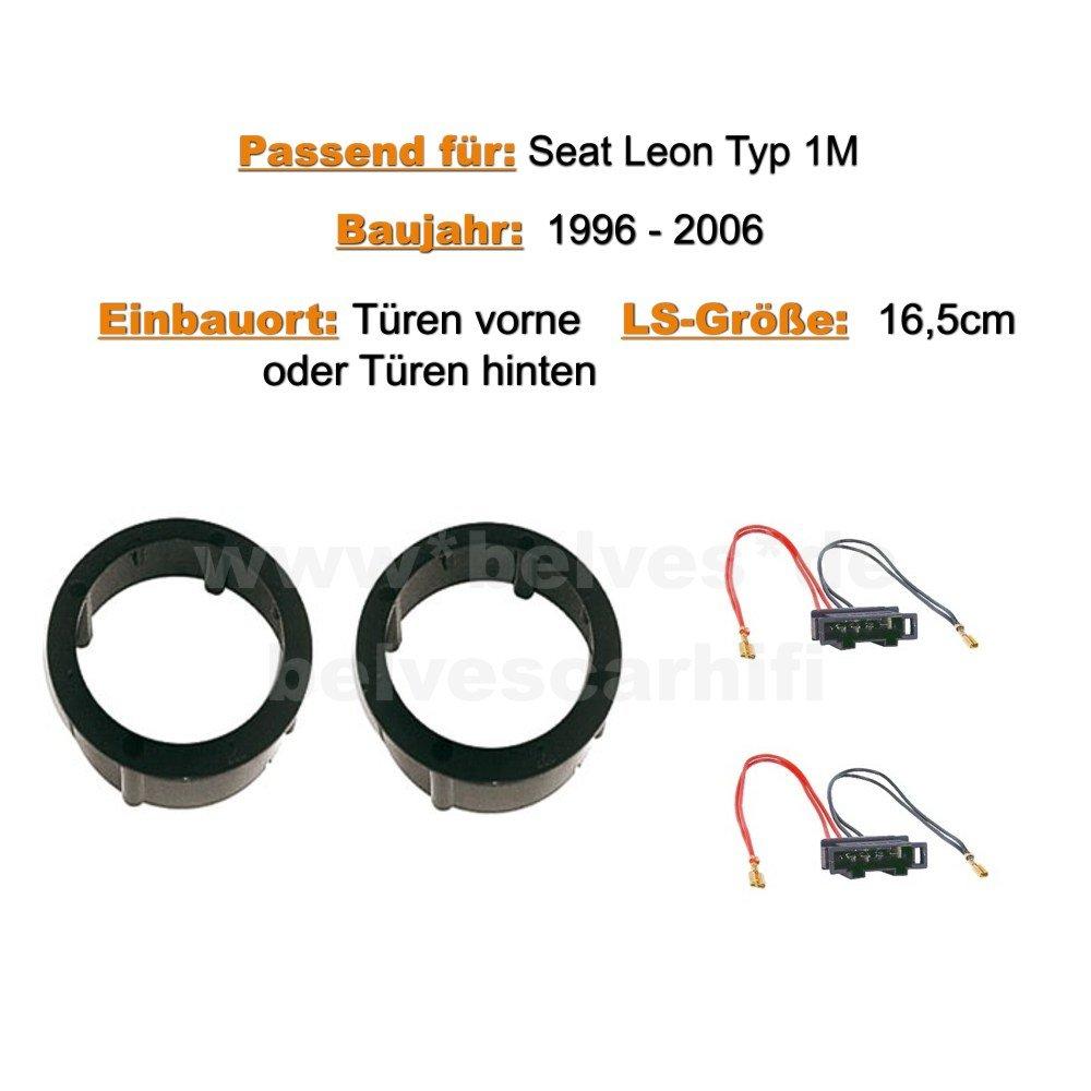 Altavoces para Seat Le/ón 1 M modelos de 1996 a 2006, montaje en puertas delanteras y traseras Crunch DSX 62
