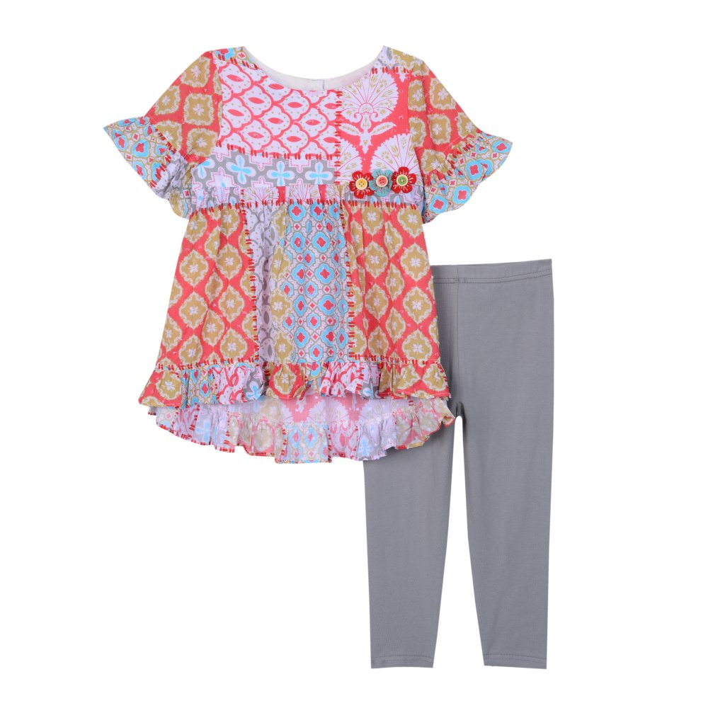 Pastourelle Girls Clothing Set Flounce Hem Top Leggings