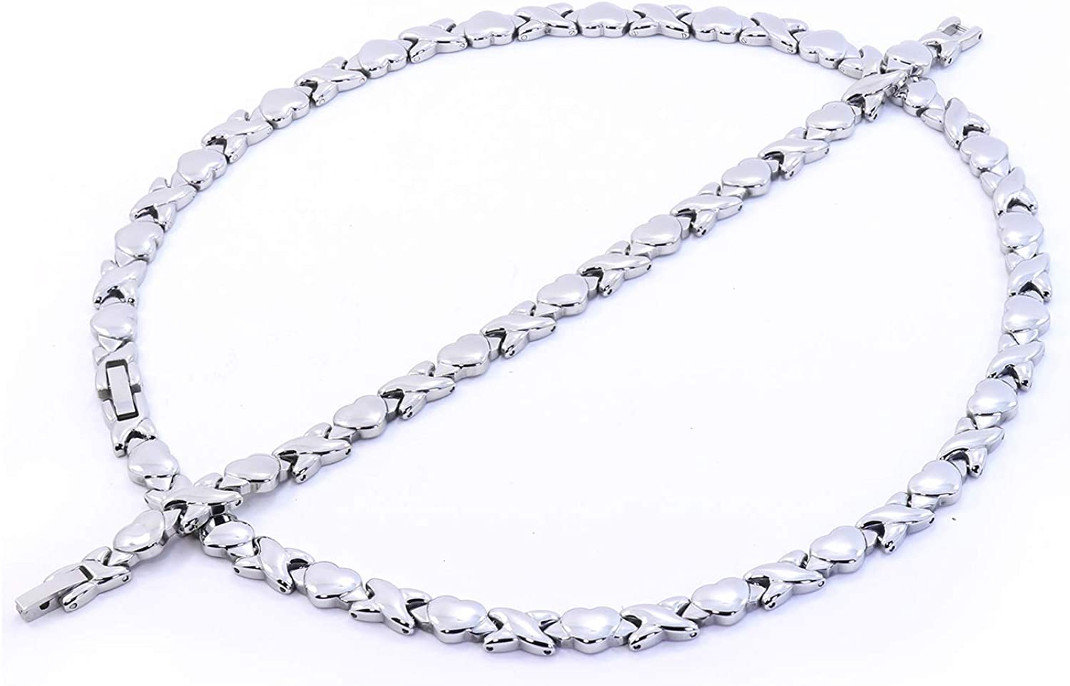 """Hugs and Kisses Necklace Bracelet Set Stampato Stainless Steel Silver Tone 18/"""""""