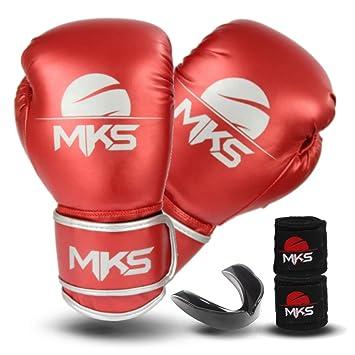 9c3cecf5d Kit Luva Boxe Muay Thai Mks Combat Energy Vermelho + Bandagem + Protetor  Bucal (12