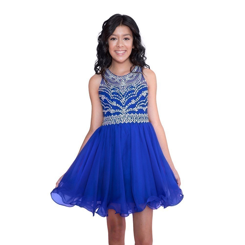 Calla Collection Big Girls Royal Blue Short Special Occasion Tween Dress 10