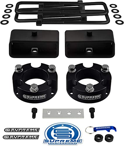 1 Rear Lift Blocks Supreme Suspensions Square Bend U-Bolts Full Lift Leveling Kit for 1995-2004 Toyota Tacoma 2 Front Lift Strut Spacers Brake Proportioning Valve Relocation Bracket