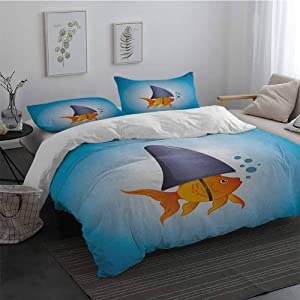 Shark Sheet Set Microfiber Bedding Little Goldfish Wearing A Shark Fin to Scare Predators Success Concept 3 Piece(1 Duvet Cover+2 Pillowcases) Violet Blue Grey Orange Queen