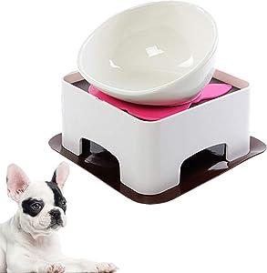 JYHY Bulldog Bowl Ceramic Dog Food Bowl - Dog Cat Dish Wide Mouth Dog Bowl Pet Sterile Tilted Pet Feeder with Anti-Skid Rubber Mat (White Bowl Set)