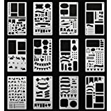 Journal Stencil Plastic Planner Stencils 12 Pieces Journal Notebook Diary Scrapbook DIY Drawing Template Stencil 4.2 x 7 Inch (Set of 12)